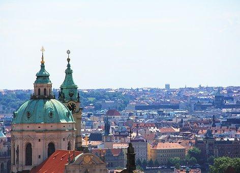 Panorama Prague, Czechia, Church, Baroque, Cityscape