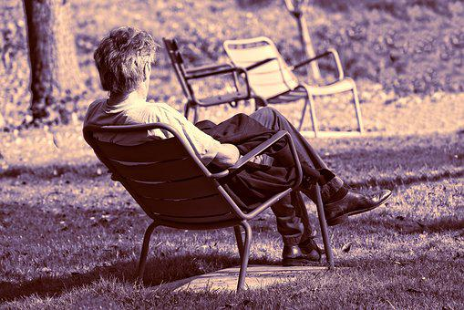 Man, Person, Sitting, Chair, Outdoors, Resting