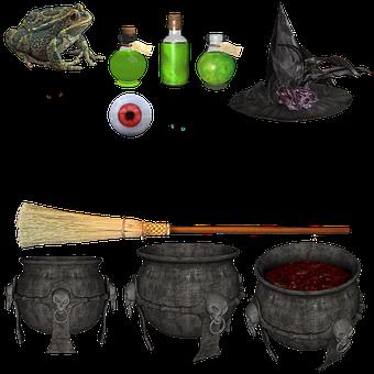 Witch, Halloween, Hat, Broom, Black, Cat, Potion