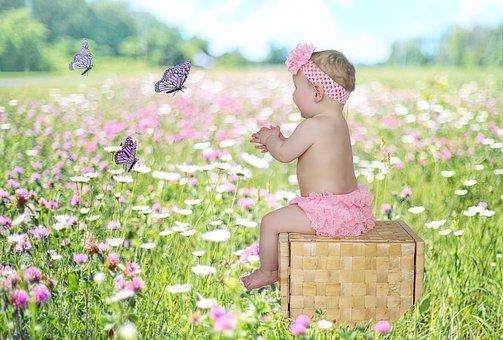 Baby, Girl, Butterflies, Pretty, Play