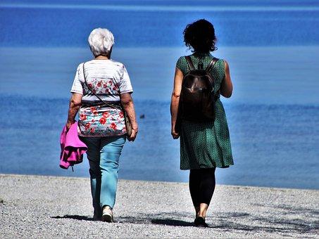 Conversation, Senior, Woman, Total, Beach, Lake, Two