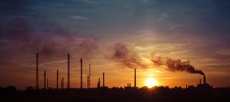 Factory, Industry, In The Evening, Silhouette, Slovnaft