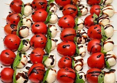 Tomatoes, Tomato Mozzarella, Buffet, Snack, Party