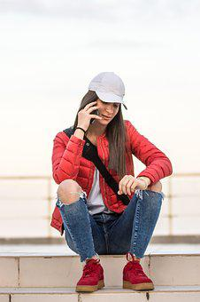 Fashion, Young Girl, Phone, Chat, Teen, Teen Age