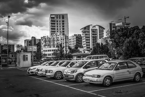 Parking Lot, Cars, Vehicles, City, Cityscape, Building