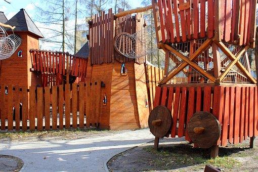 Playground, Wooden, Fun, Children, Tower, Climbing