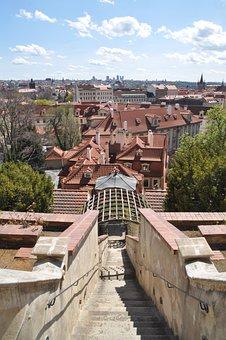 Prague, Gardens Under The Castle, Roofs