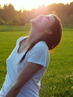 Girl, Woman, Meadow, Sunset, Laugh, Look Forward, Enjoy