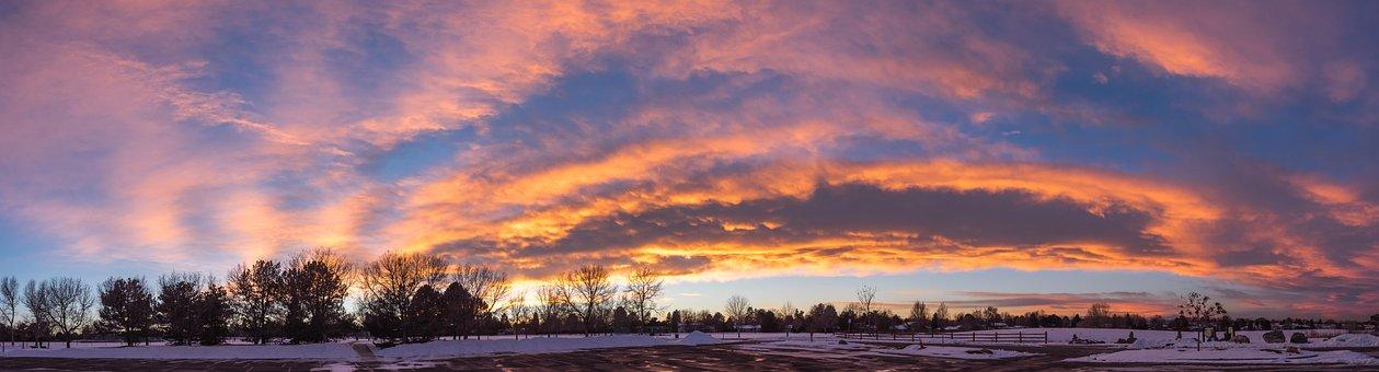 Panoramic, Sunset, Dawn, Nature, Landscape, Panorama