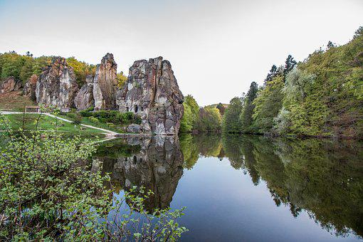 Externsteine, Lake, Mirroring, Stones, Sandstone Rocks
