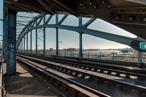 Cologne, Railway Bridge, Rhine, Arches, Architecture