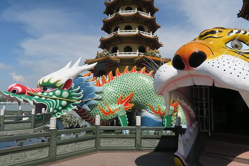 Temple, Travel, Traditional, Dragon, Tiger, Sculpture