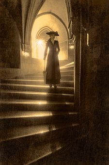 Book Cover, Woman, Stairs, Back Light, Shadow, Mystical