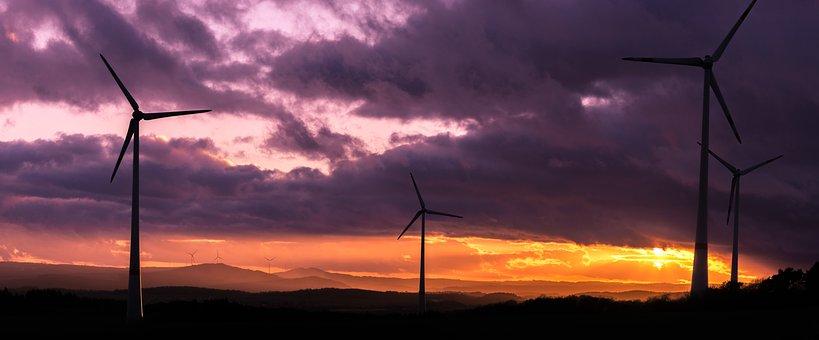 Sunset, Nature, Sky, Dawn, Panoramic, Sun, Windmills