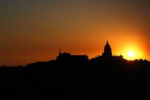 Sunset, Cathedral, Segovia, Sky, Sun, Spring
