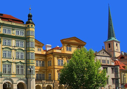 Square, Prague, Czechia, Houses, Church, Tower