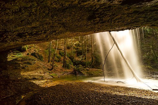 Nature, Landscape, Panorama, Waterfall, Cave, Alpine