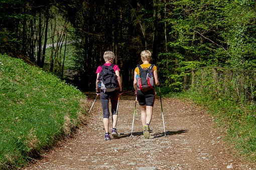 Sport, Nordic Walking, Woman, Girlfriends, Hike
