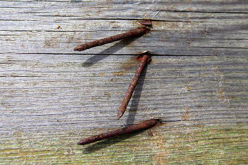Nails, Rusty, Corrosion, Board, Wooden, Old, Destroyed
