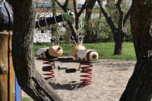 Tree, Wood, Children's Playground, Woods, Log, Colorful