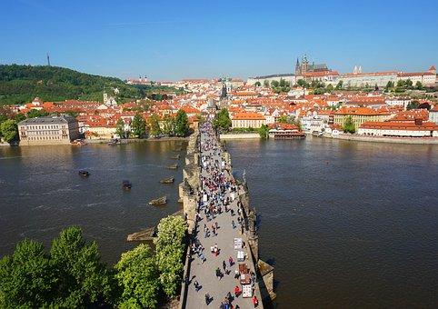 Panorama, Prague, Czechia, Castle, Bridge, River