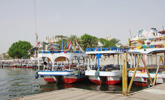 Egypt, Luxor, Pier, Boats, Nile, Body Of Water, Sea