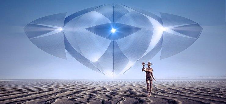 Fantasy, Scifi, Spaceship, Ufo, Light, Hell, Surreal