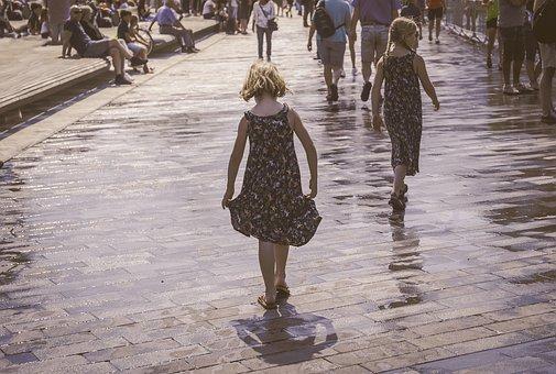 Girl, Walking, Summer, Dress, Shadow, Warm, Weather