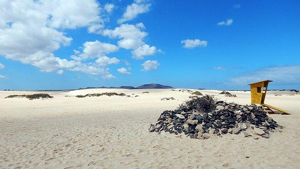 Desert, Canary Islands, Blue, White, Relax, Sand