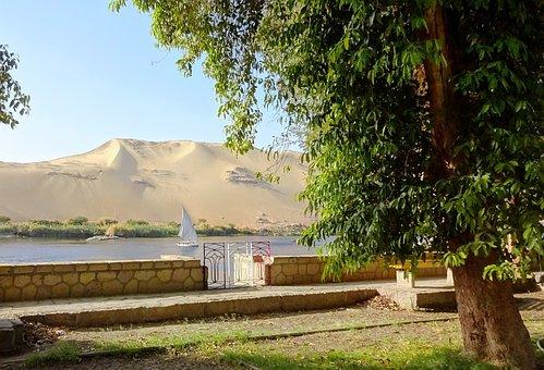 Egypt, Aswan, Nile, Felucca, Heat, Nonchalance, Desert