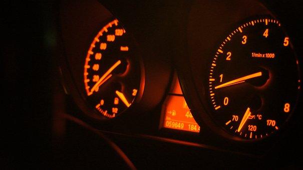 Dashboard, Car, Speedometer, Meter, Temperature