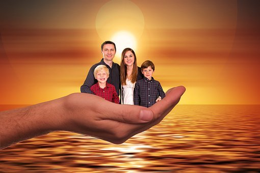 Family, Sun, Sunset, Woman, Children, Father, Mother