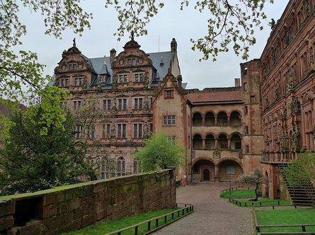 Heidelberger Schloss, Heidelberg, Castle, Spring, Ruin