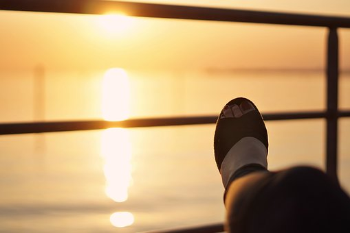 Sunset, Human, Reflection, Sun, Foot, Leg, Woman, Beach