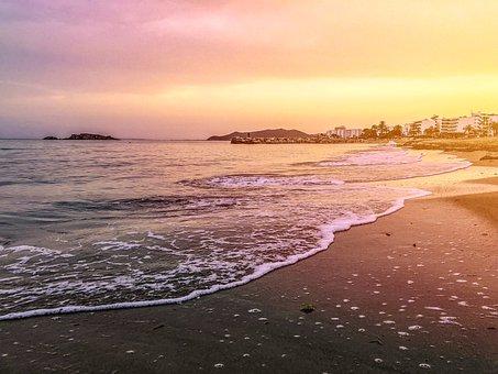 Waters, Sunset, Dusk, Sand, Sea, Ibiza, Spain, Mallorca