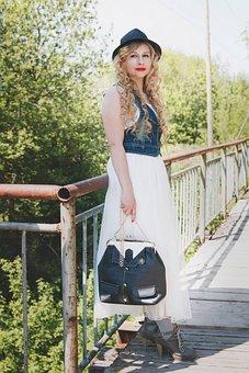 Woman, Nature, Outdoors, Girl, Portrait, Bridge, Bag