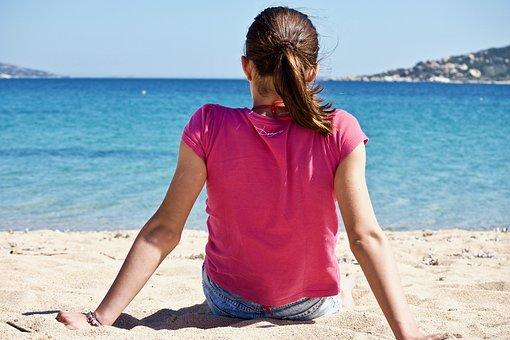 Girl, Beach, Sea, Summer, Sand, Waters, Costa, Outdoors
