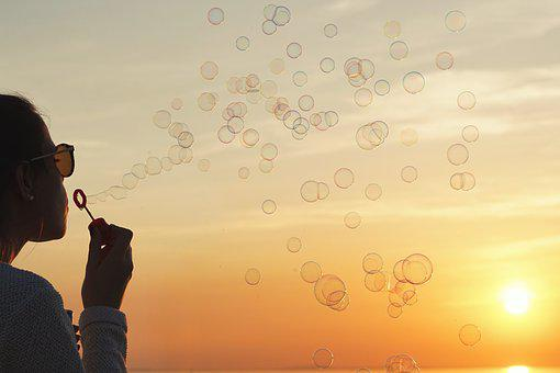 Sunset, Sun, Nature, Sky, Summer, Soap Bubbles