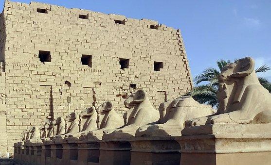 Egypt, Karnak, Temple, Rams, Avenue Of Rams, Amen