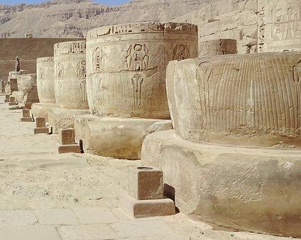 Egypt, Thebes, Temple, Medinet-habu, Columns