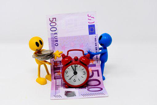 Time Is Money, Bank Note, Coins, Figures, Funny, Clock
