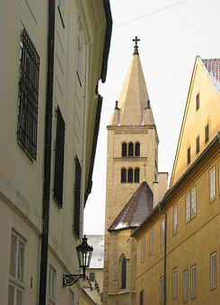 Romanesque, Basilica, Czechia, Prague, Tower