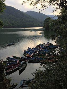 Water, Travel, Lake, Nature, Canoe, Nepal, Pokhara