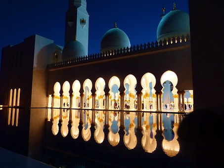 Mosque, Great Mosque, Abu Dhabi, Emirates, Reflection
