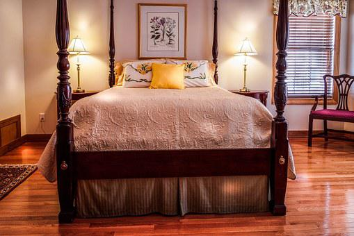 Bedroom, Bed, Four Poster, Rice Bed, Bedspread, Pillows