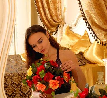 Girl, Woman, Flowers, Bedroom, Mirror, Bed, Bouquet