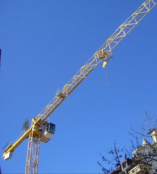 Crane, Baukran, Crane Arm, Lift Loads, Sky, Blue