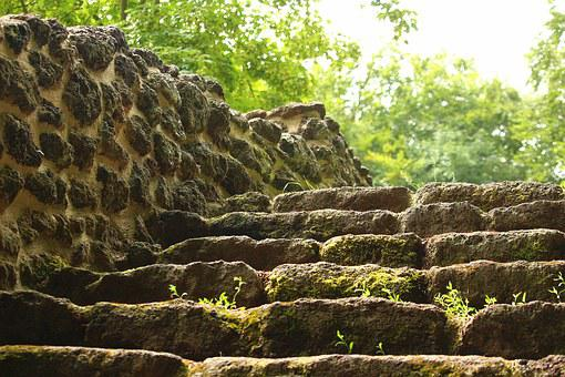 Stairs, Ruin, Wall, Rasenerz, Clumping Stone