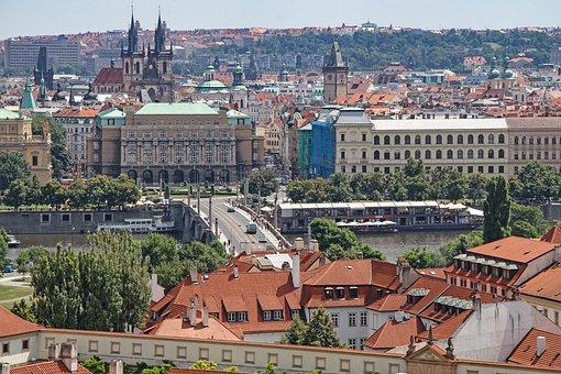 Prague, City View, From Above, Homes, Czech Republic