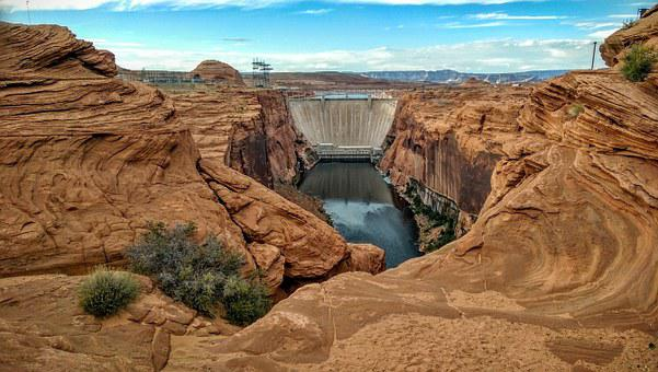 Glen Canyon, Dam, Arizona, Bridge, Lake Powell